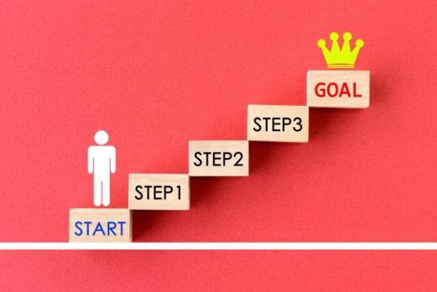 段階的なステップを超えて目標に到達する